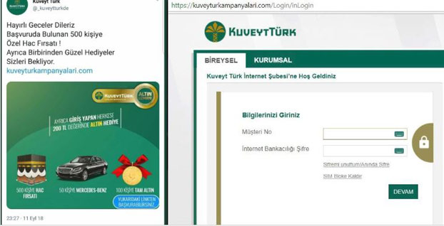 Banka dolandırıcılarının son hedefi Kuveyt Türk müşterileri