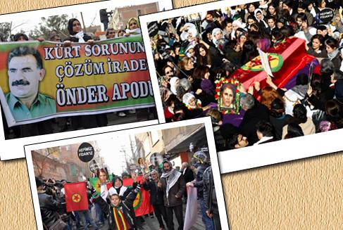 Diyarbakır'da 3 PKK'lı kadın için cenaze töreni (Foto galeri)
