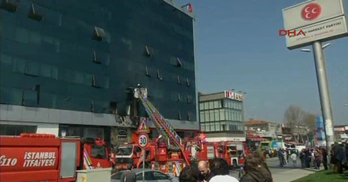MHP İl Başkanlığı'nın da bulunduğu binada yangın